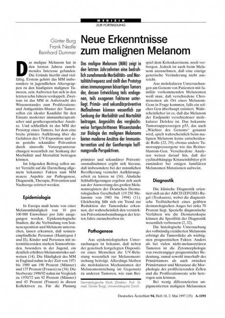 Neue Erkenntnisse zum malignen Melanom