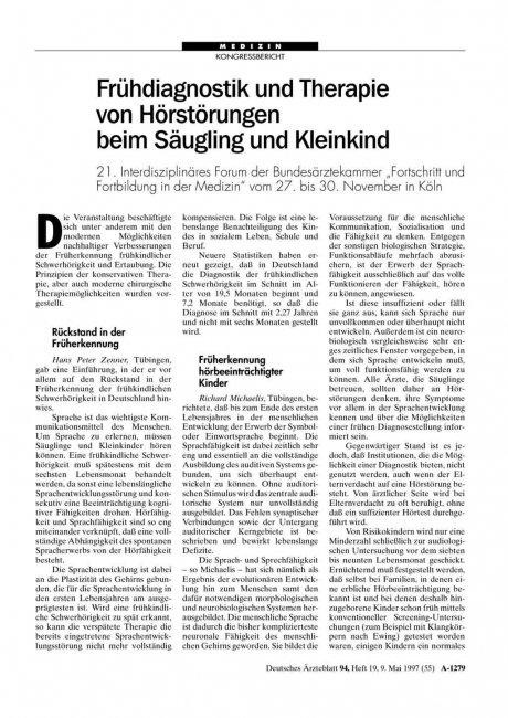 Frühdiagnostik und Therapie von Hörstörungen beim...