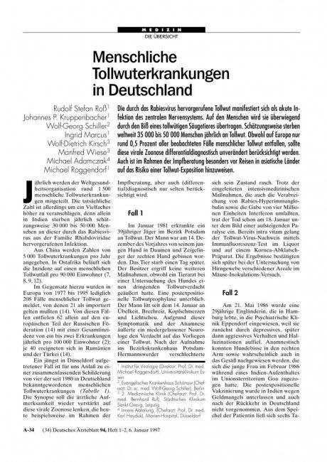 Menschliche Tollwuterkrankungen in Deutschland