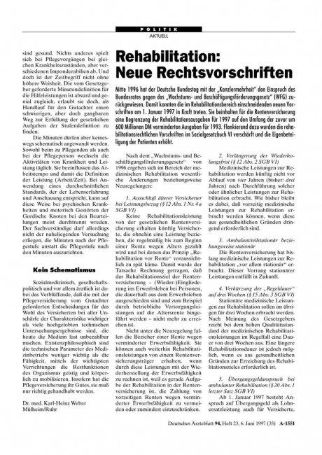 Rehabilitation: Neue Rechtsvorschriften