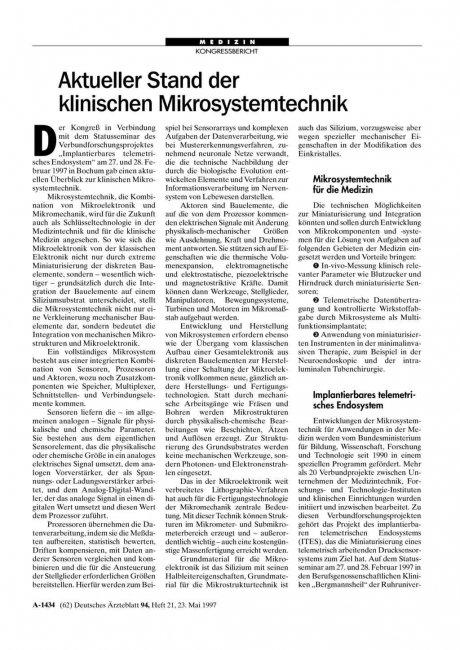 Aktueller Stand der klinischen Mikrosystemtechnik