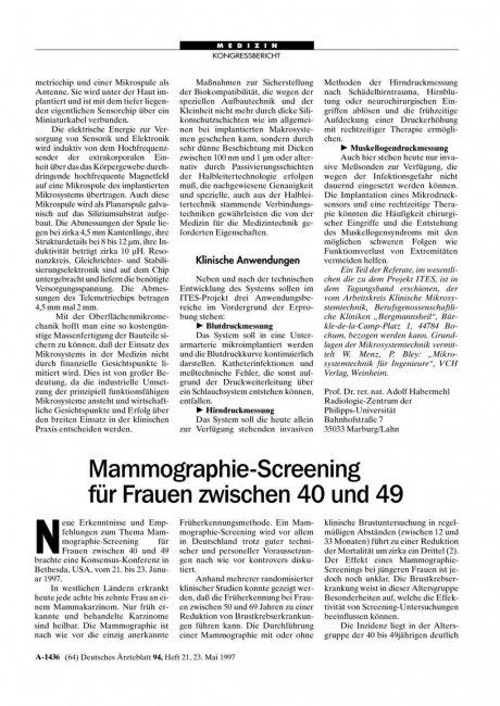 Mammographie-Screening für Frauen zwischen 40 und...