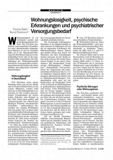 Wohnungslosigkeit, psychische Erkrankungen und...