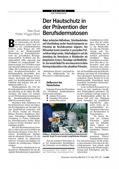 Der Hautschutz in der Prävention der...