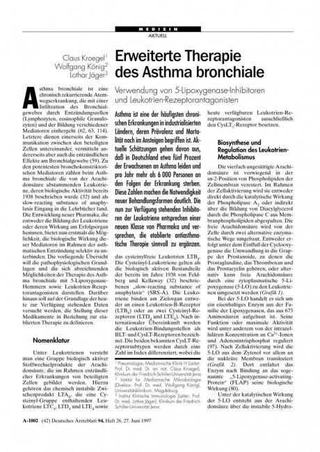 Erweiterte Therapie des Asthma bronchiale