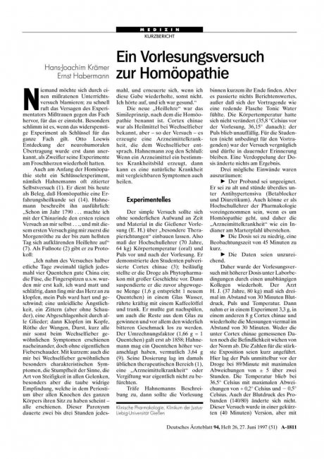Ein Vorlesungsversuch zur Homöopathie