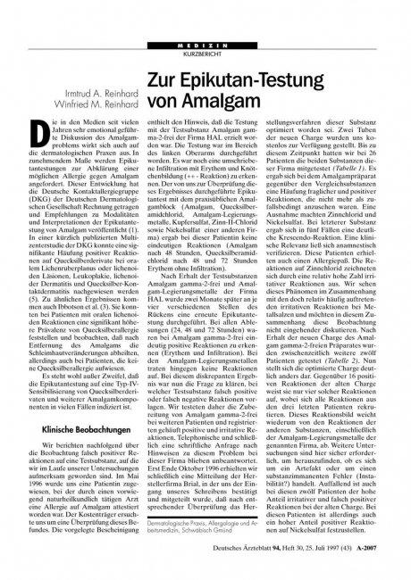Zur Epikutan-Testung von Amalgam