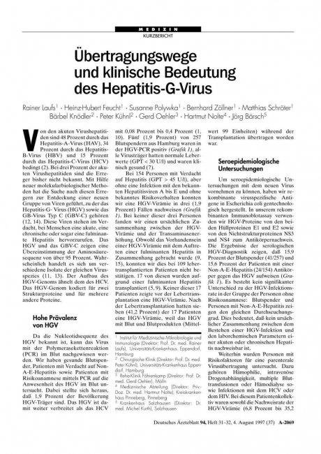 Übertragungswege und klinische Bedeutung des...