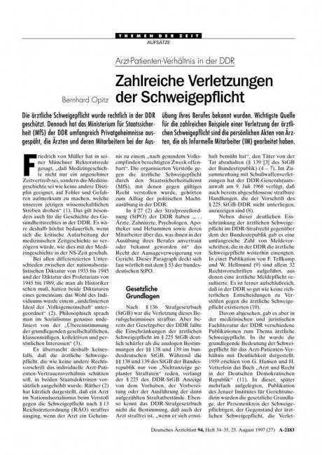 Arzt-Patienten-Verhältnis in der DDR