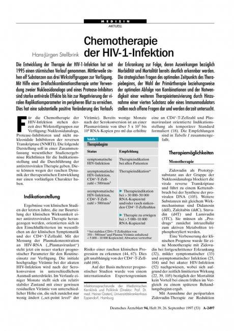 Chemotherapie der HIV-1-Infektion