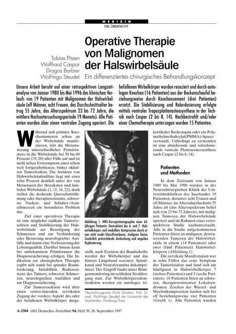 Operative Therapie von Malignomen der...