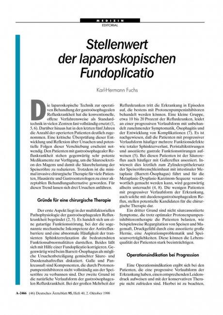 Stellenwert der laparoskopischen Fundoplicatio