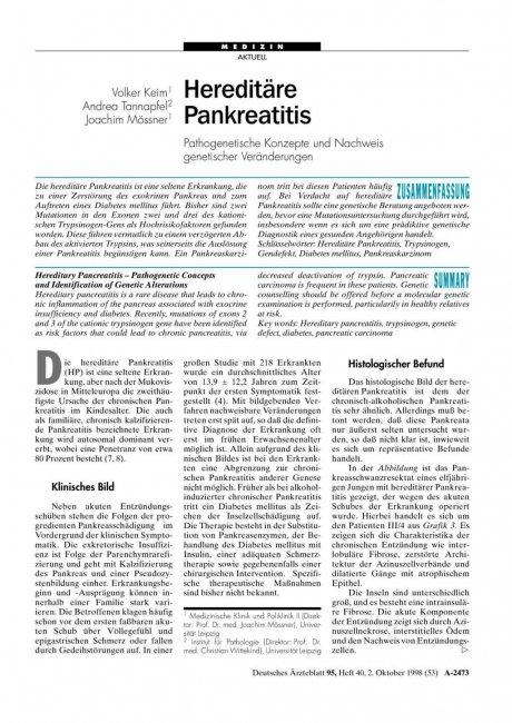 Hereditäre Pankreatitis