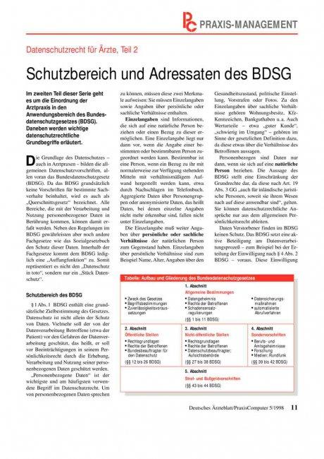 Datenschutzrecht für Ärzte, Teil 2: Schutzbereich und Adressaten des BDSG