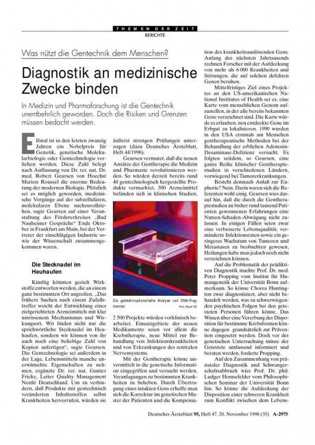 Was nützt die Gentechnik dem Menschen? Diagnostik...