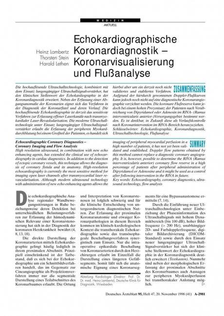 Echokardiographische Koronardiagnostik -...