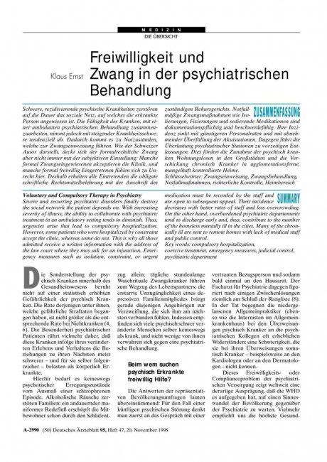 Freiwilligkeit und Zwang in der psychiatrischen...