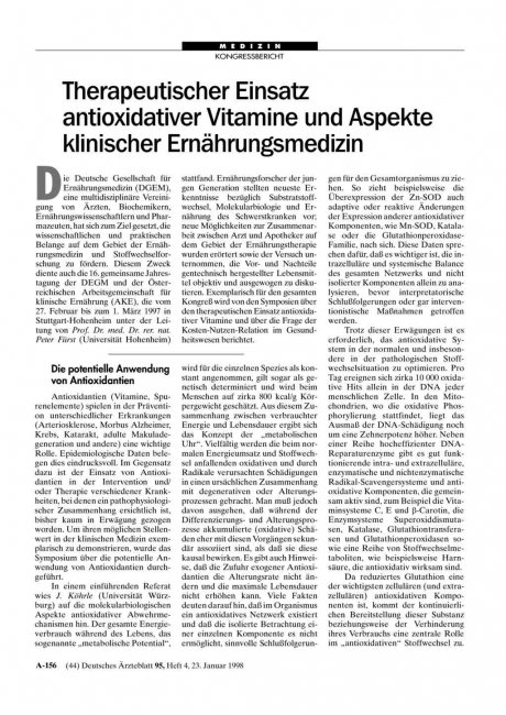 Therapeutischer Einsatz antioxidativer Vitamine...