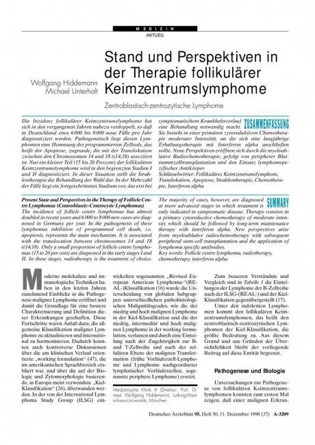Stand und Perspektiven in der Therapie...