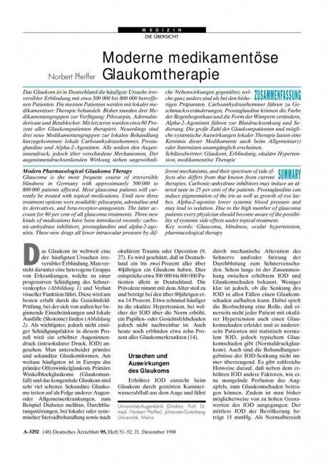 Moderne medikamentöse Glaukomtherapie
