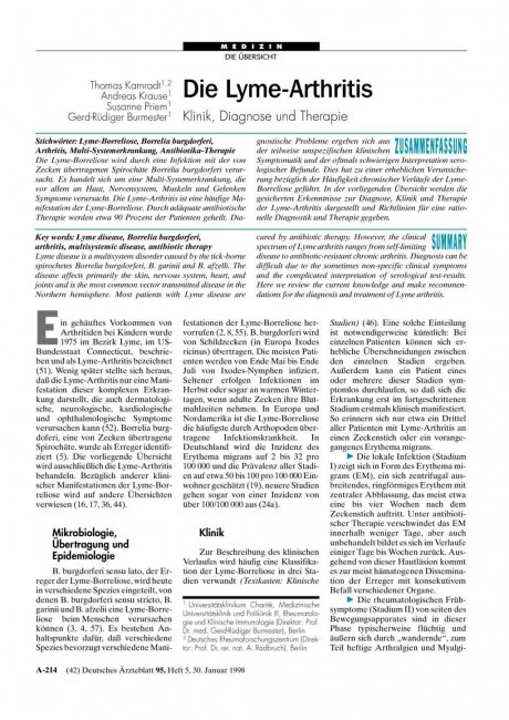 Die Lyme-Arthritis: Klinik, Diagnose und Therapie