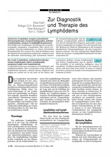 Zur Diagnostik und Therapie des Lymphödems