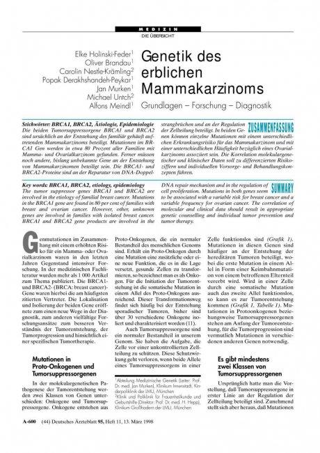 Genetik des erblichen Mammakarzinoms
