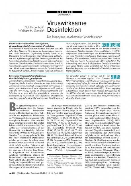 Viruswirksame Desinfektion