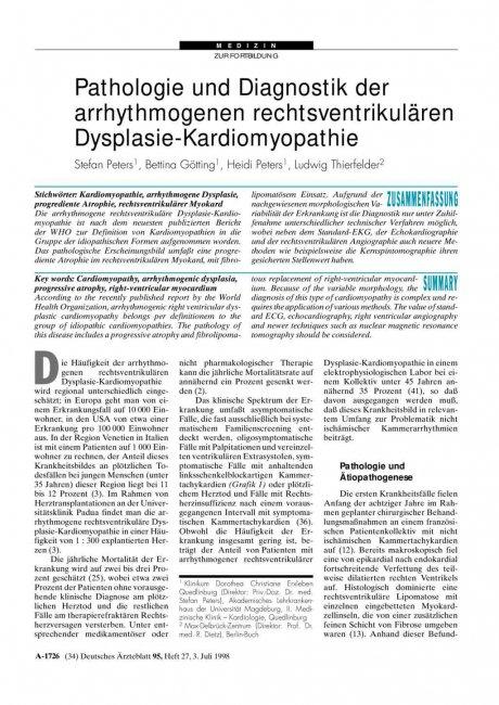 Pathologie und Diagnostik der arrhythmogenen...