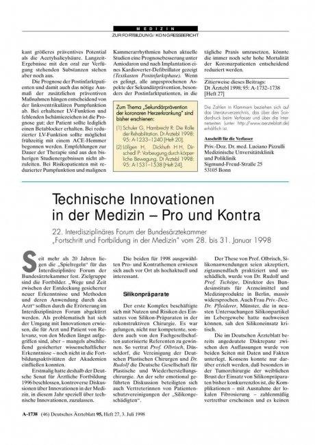 Technische Innovationen in der Medizin - Pro und...