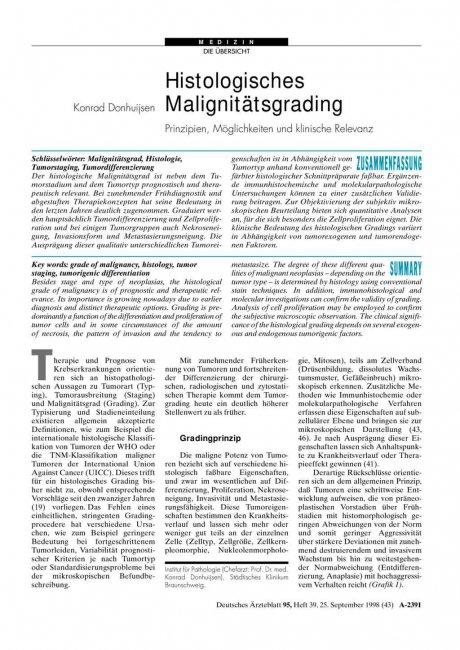 Histologisches Malignitätsgrading
