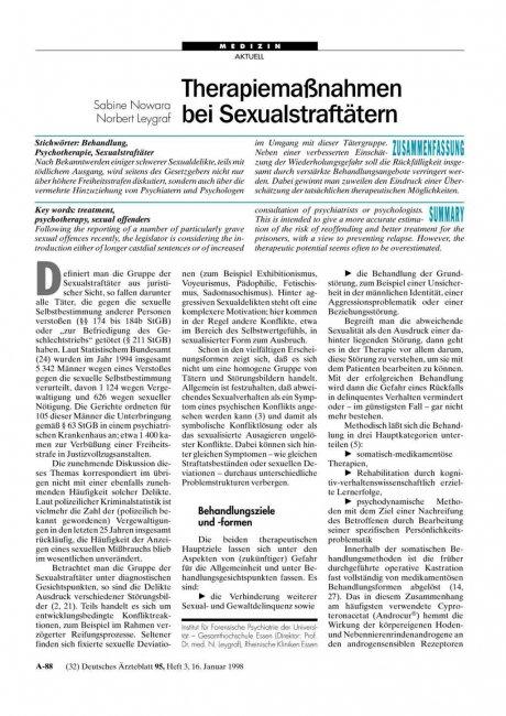Therapiemaßnahmen bei Sexualstraftätern