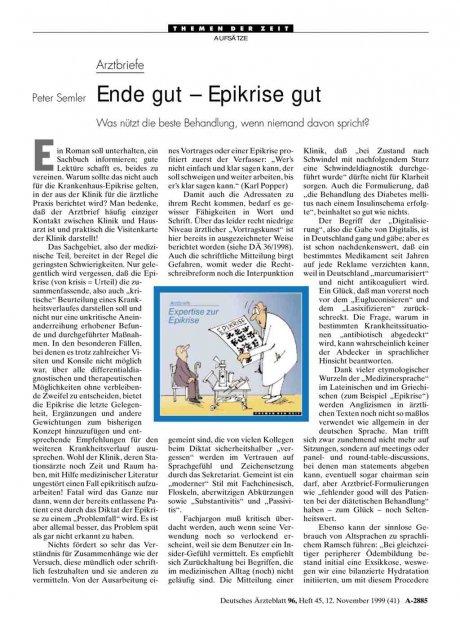 Arztbriefe: Ende gut - Epikrise gut