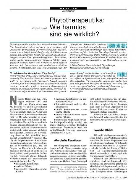 Phytotherapeutika: Wie harmlos sind sie wirklich?
