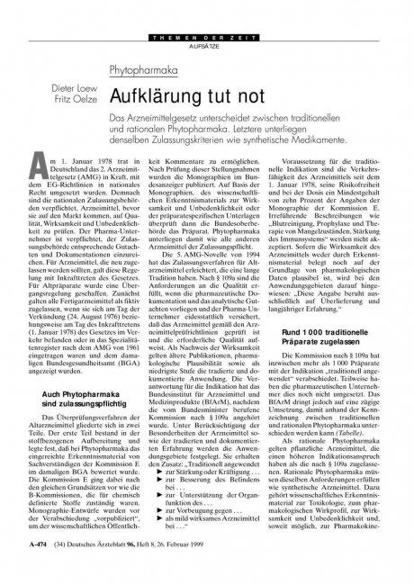 Phytopharmaka: Aufklärung tut not