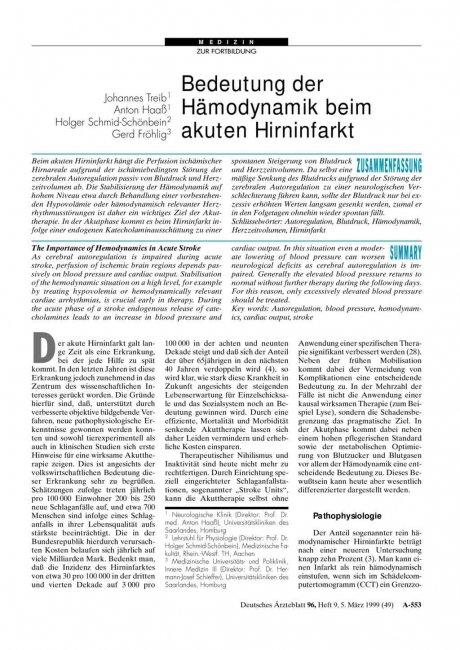 Bedeutung der Hämodynamik beim akuten Hirninfarkt