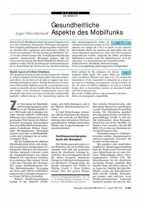 Gesundheitliche Aspekte des Mobilfunks