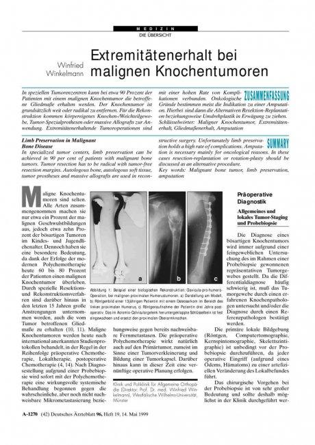 Extremitätenerhalt bei malignen Knochentumoren