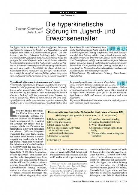 Die hyperkinetische Störung im Jugend- und...