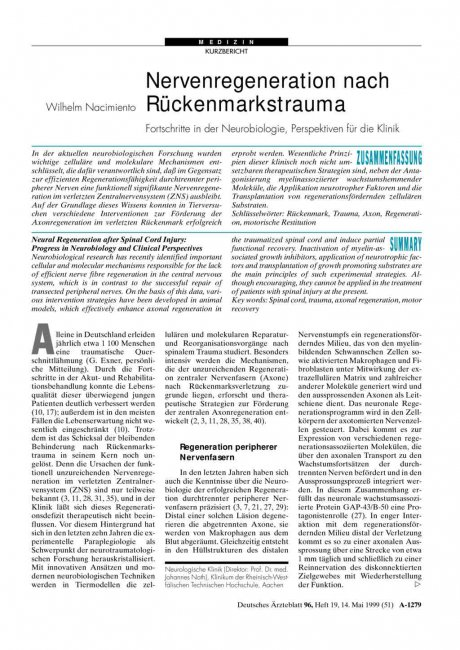 Nervenregeneration nach Rückenmarkstrauma