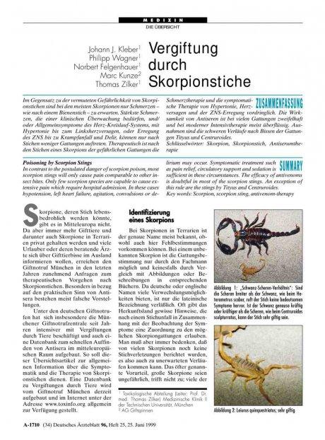 Vergiftung durch Skorpionstiche