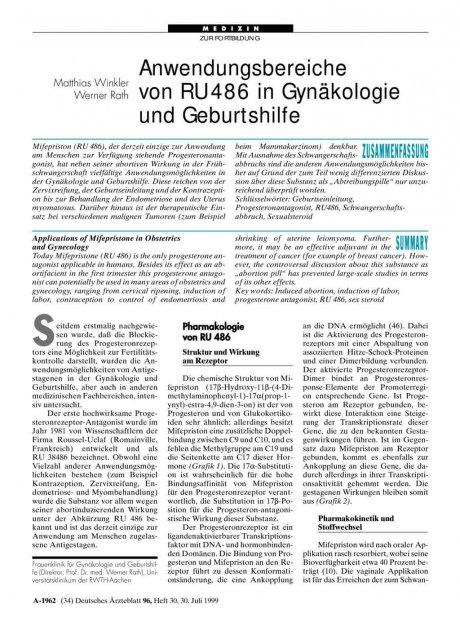 Anwendungsbereiche von RU 486 in Gynäkologie und...