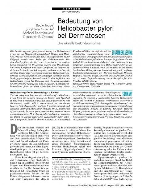 Bedeutung von Helicobacter pylori bei Dermatosen
