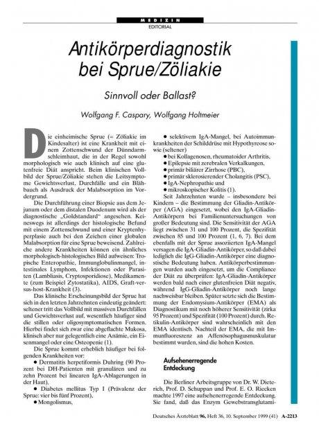Antikörperdiagnostik bei Sprue/Zöliakie