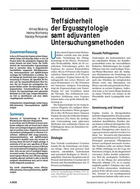 Treffsicherheit der Ergusszytologie samt...