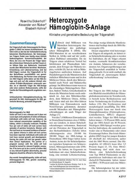 Heterozygote Hämoglobin-S-Anlage