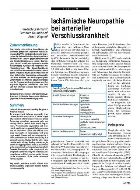 Ischämische Neuropathie bei arterieller...