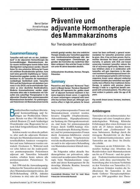 Präventive und adjuvante Hormontherapie des...