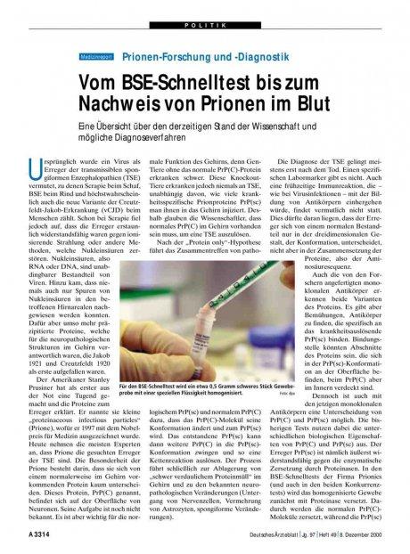 Prionen-Forschung und -Diagnostik