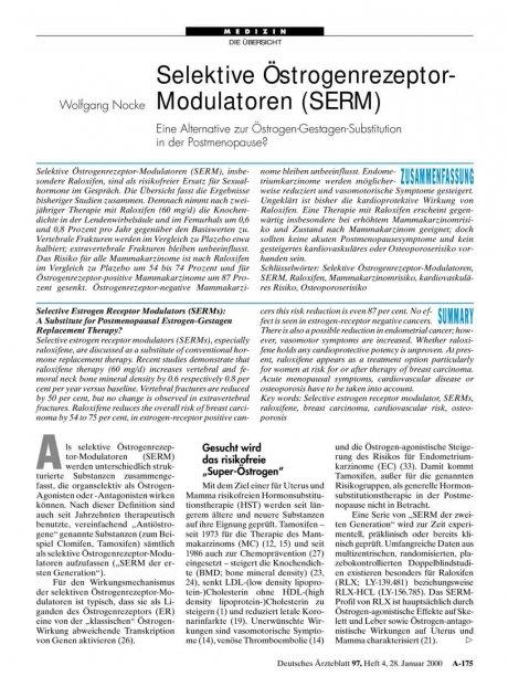 Selektive Östrogenrezeptor-Modulatoren (SERM)